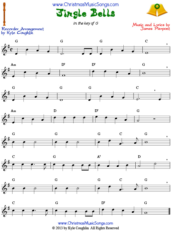 Long Bells Notes Jingle Letters Recorder