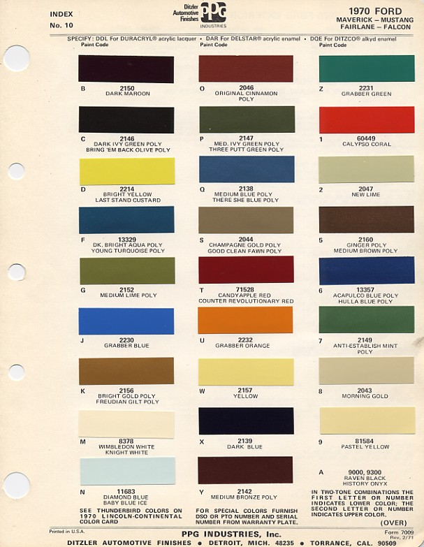 1969 Color Corvette Codes