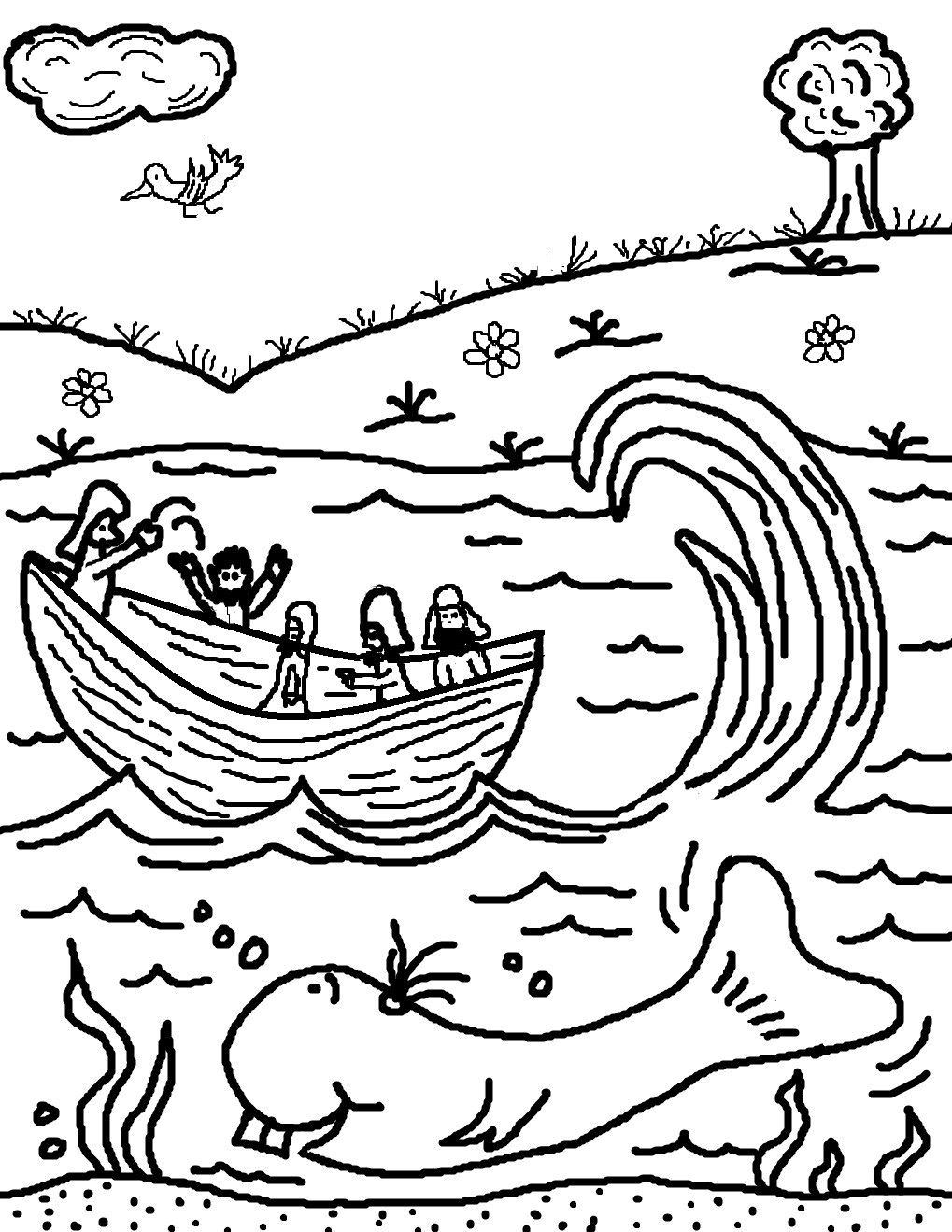 Jonah Boat Coloring Page Coloring Page