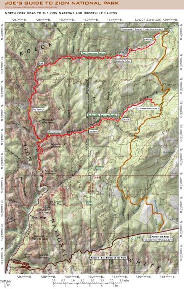 Joe s Guide to Zion National Park   North Fork Road Driving Map Joe Braun   North Fork Road to the Zion Narrows and Orderville Canyon