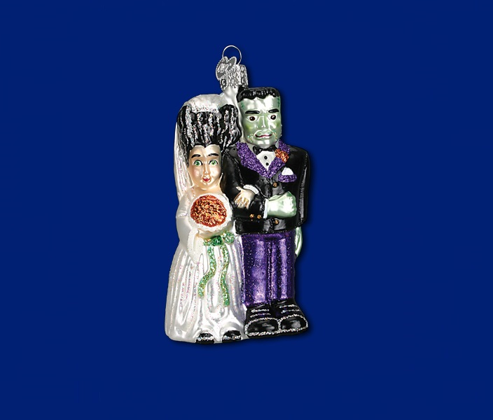 OLD WORLD CHRISTMAS 26065 Frankenstein and Bride Glass ...