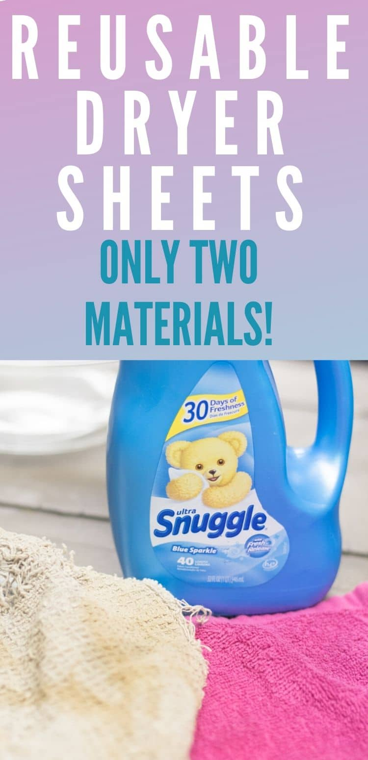 Make your own reusable homemade dryer sheets with this easy tutorial. You only need two materials and this is a great way to upcycle old washcloths! via @clarkscondensed