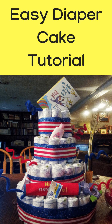 Diaper Cake Tutorial / DIY Diaper Cake / Diaper Decorations / Baby Shower / Baby Shower Diaper Cake #babyshower #diapercake #diapers via @clarkscondensed