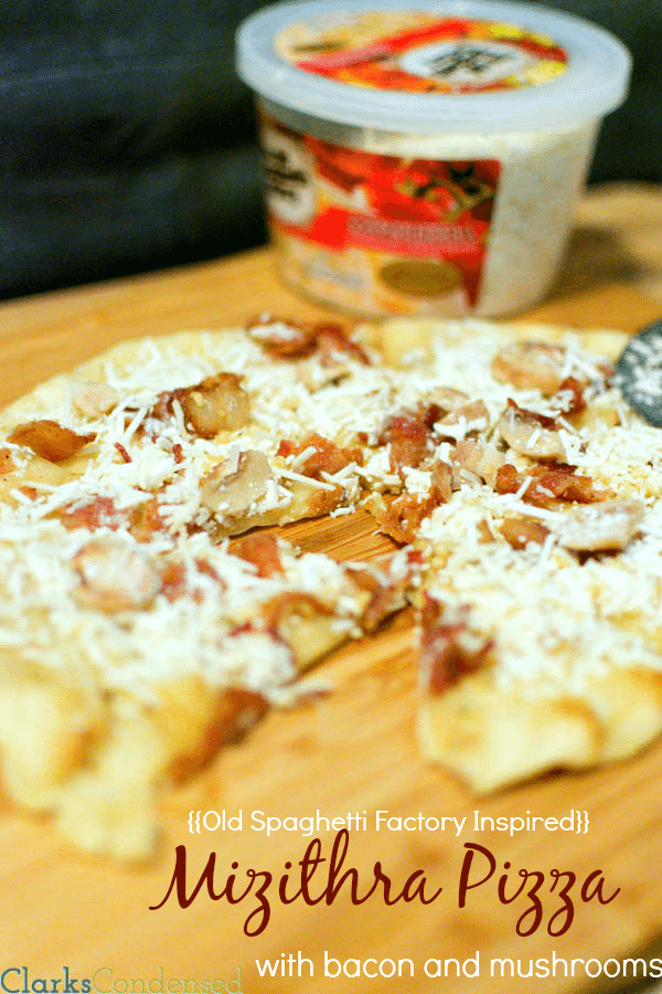 Mizithra Pizza {{inspired by Old Spaghetti Factory}} made with mushrooms, bacon, mizithra, and a garlic butter sauce