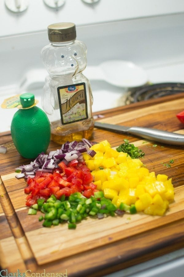 I am totally obsessed with this honey lime, mango salsa! It is SO good -- perfect combination of sweet and spicy, tastes great on chips, fish, or chicken, and PERFECT for summer parties