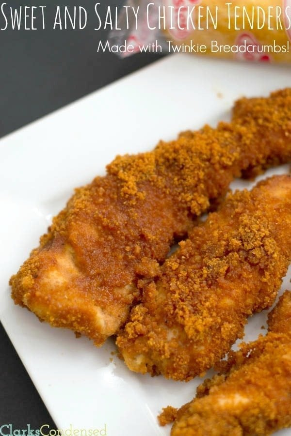 Sweet and Salty Chicken Tenders -- the breading is made with Twinkies! You don't want to miss out on this one-of-a-kind recipe!