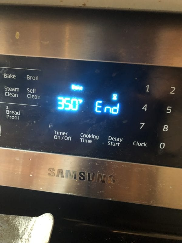 oven set to 350