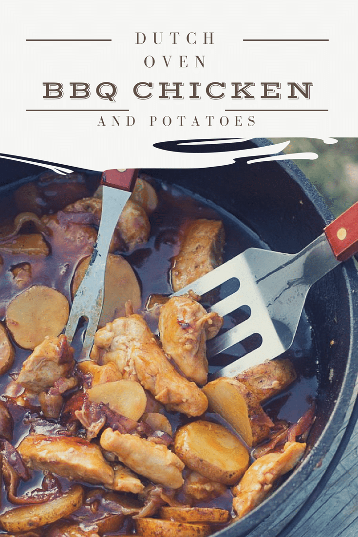 This is the BEST dutch oven BBQ chicken and potatoes recipe out there. Perfect for summer campouts! via @clarkscondensed