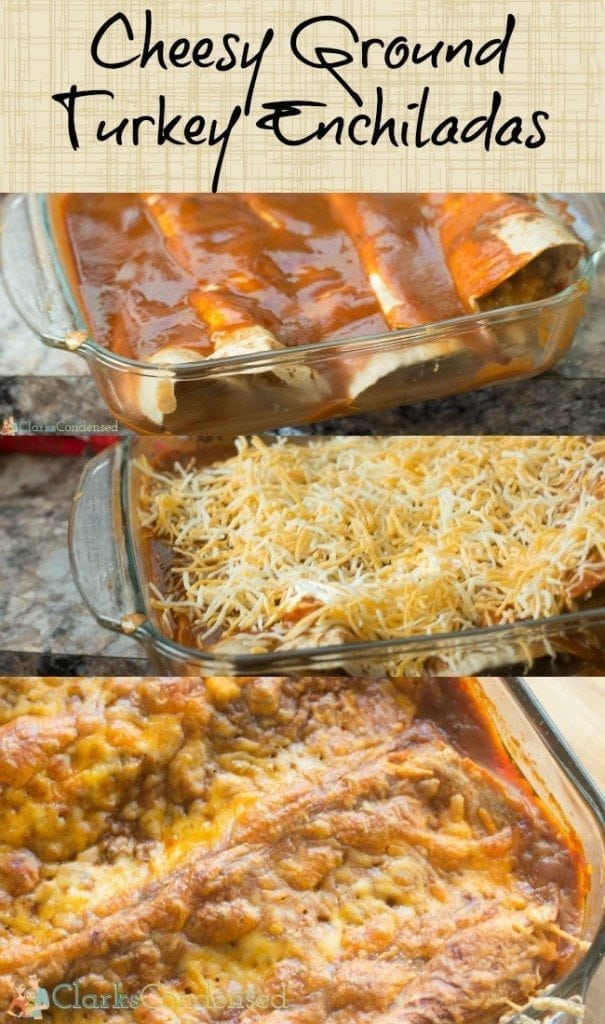 These cheesy ground turkey enchiladas are better-for-you than beef enchiladas but have the same great flavor! It's a great easy dinner idea.