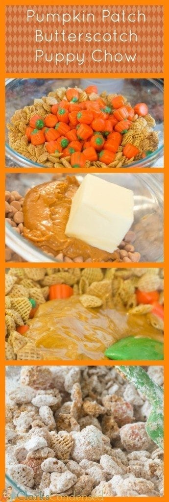 This pumpkin patch puppy chow is made with cookie butter, pumpkin candies, butterscotch chips, and Crispix cereal. It's the perfect fall-time treat!