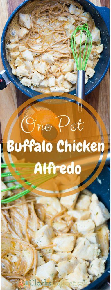 Creamy, tangy one pot buffalo chicken alfredo - so good!  via @clarkscondensed