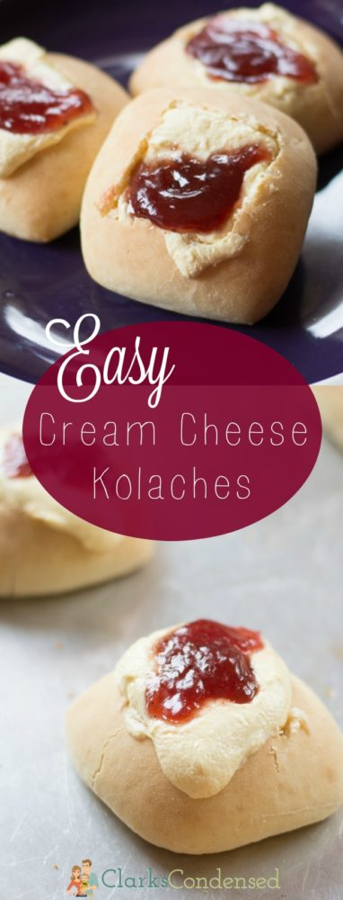 These easy cream cheese kolaches are so tasty, and the cream cheese filling is to die for. Excellent when filled with jam! via @clarkscondensed