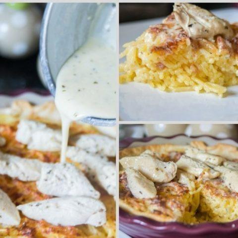 Copy Cat Olive Garden Chicken Alfredo Spaghetti Pie