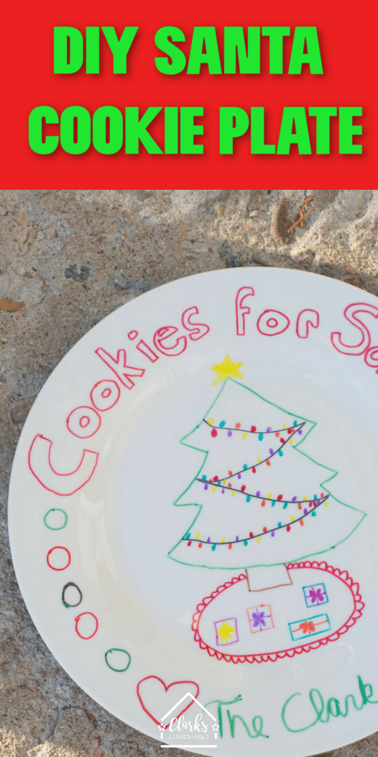 A DIY Santa Cookie plate made using Dollar Store plates. Combined with a milk mug, these crafts are the perfect holiday craft for kids. Your kids will love putting this plate out on Christmas Eve.  via @clarkscondensed
