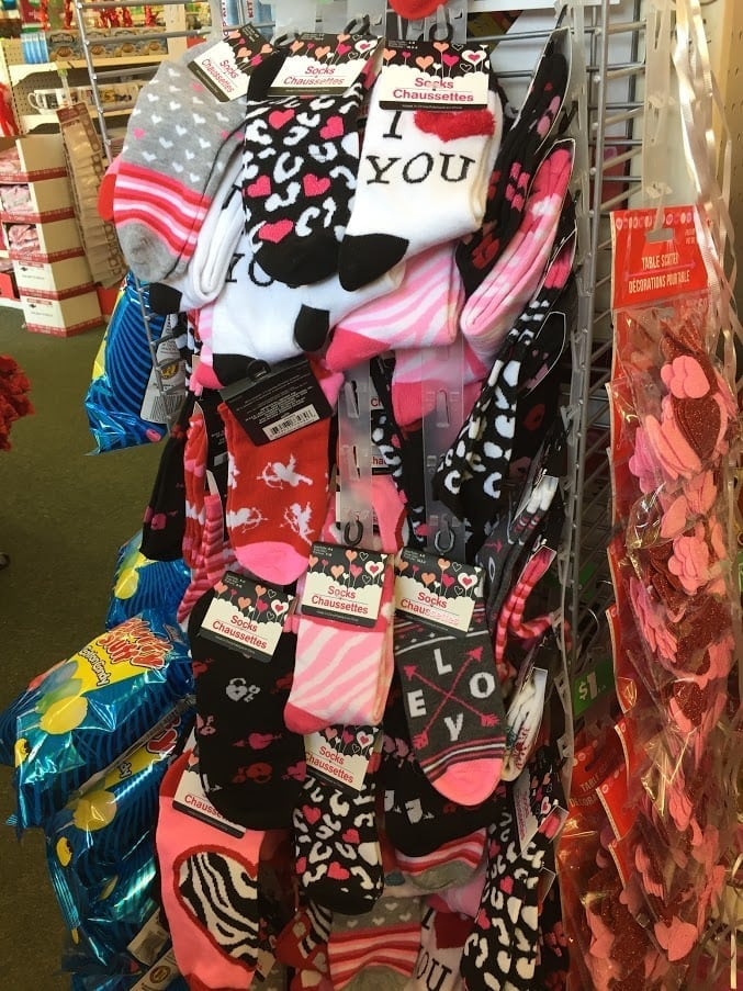 Socks on display in a store