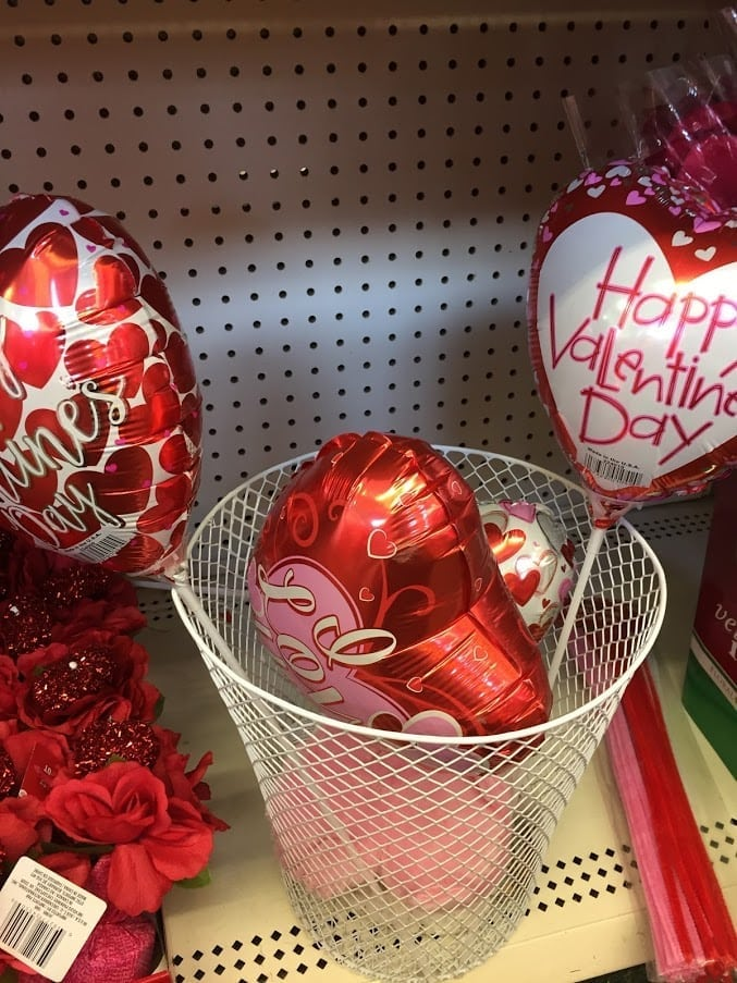 Valentine\'s Day Balloons displayed in Dollar Tree