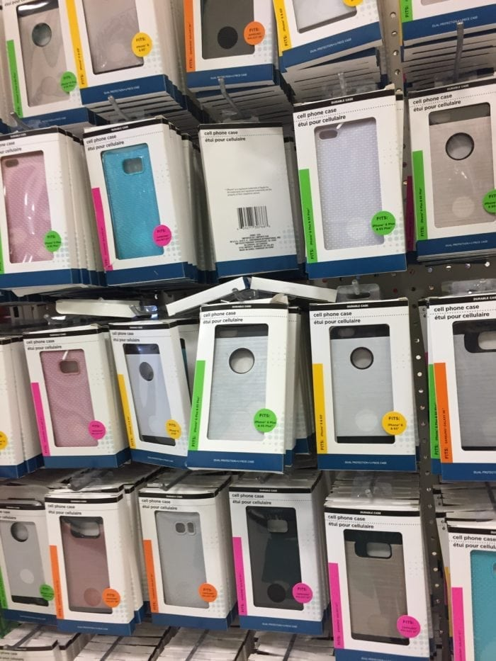 A bunch of phone covers on display