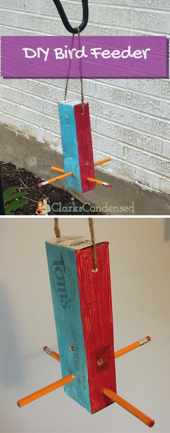 homemade bird feeder / diy bird feeder / bird feeder for kids / kids bird feeder / upcycled craft / upcycled bird feeder via @clarkscondensed