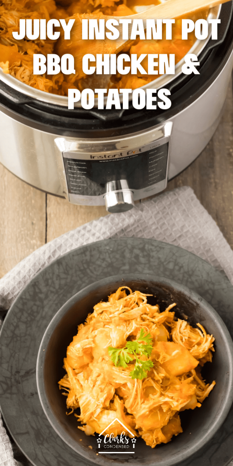 Instant pot BBQ chicken and veggies is a great way to end your day. Instnat pot bbq chicken frozen or fresh can be made with this recipe. If you are looking for ip recipes for chicken breast, this is the first one you should try! via @clarkscondensed