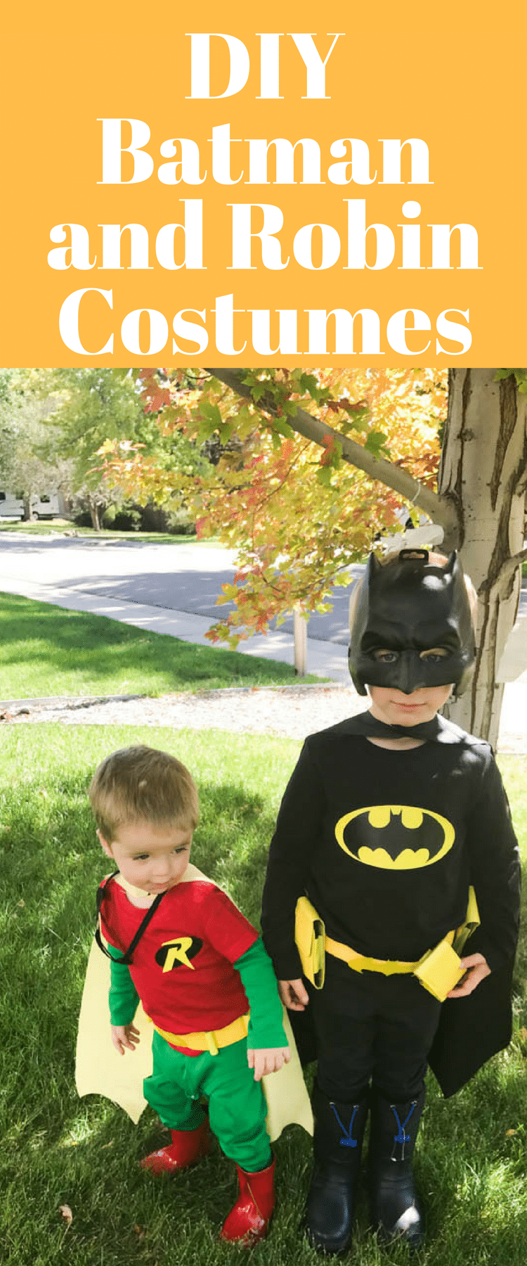 DIY Batman Costume / DIY Robin Costume / Robin Costume for Toddlers / Batman Costume for Kids / DIY Halloween via @clarkscondensed