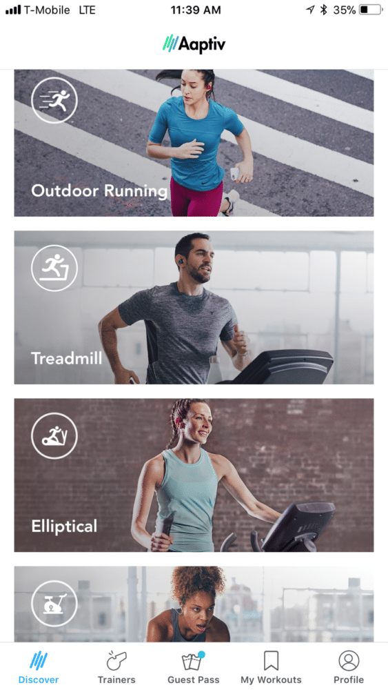 aaptiv exercise categories