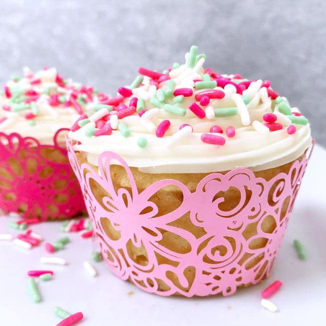 A close up of a decorated cupcake on a table