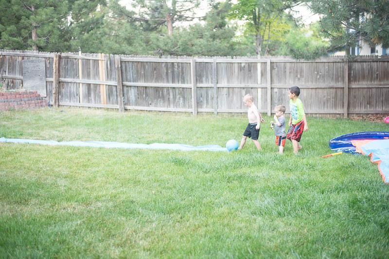 Slip n Slide Kickball with little boys