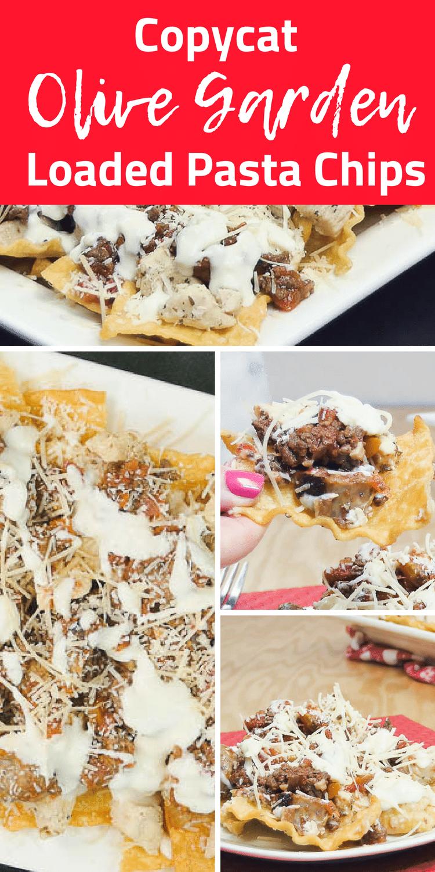 Olive Garden Loaded Pasta Chips / Olive Garden Copycat Recipes / Pasta Chips / Appetizer / Easy Appetizer / Italian Appetizer #olivegarden #copycat #copycatrecipe #italian via @clarkscondensed