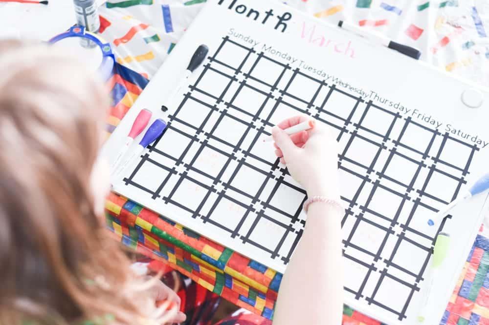 Dry Erase Calendar with Cricut