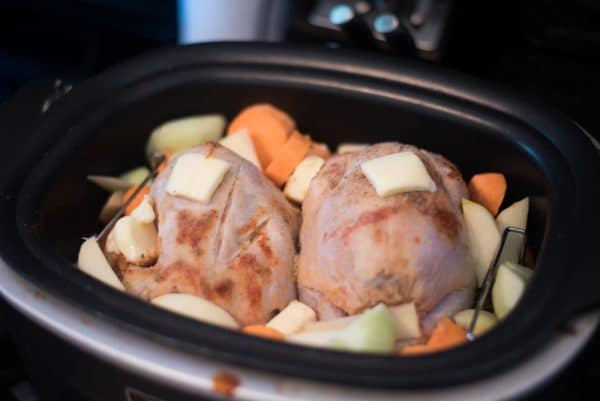 A pan filled with food, with Slow cooker and Chicken