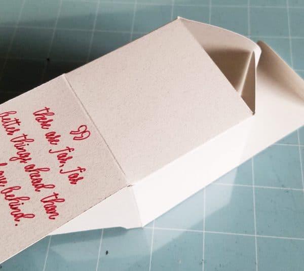 A close up of a paper box