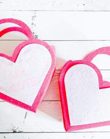A close up of heart shaped pieces of paper