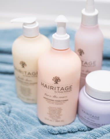 A close up of hair product bottles