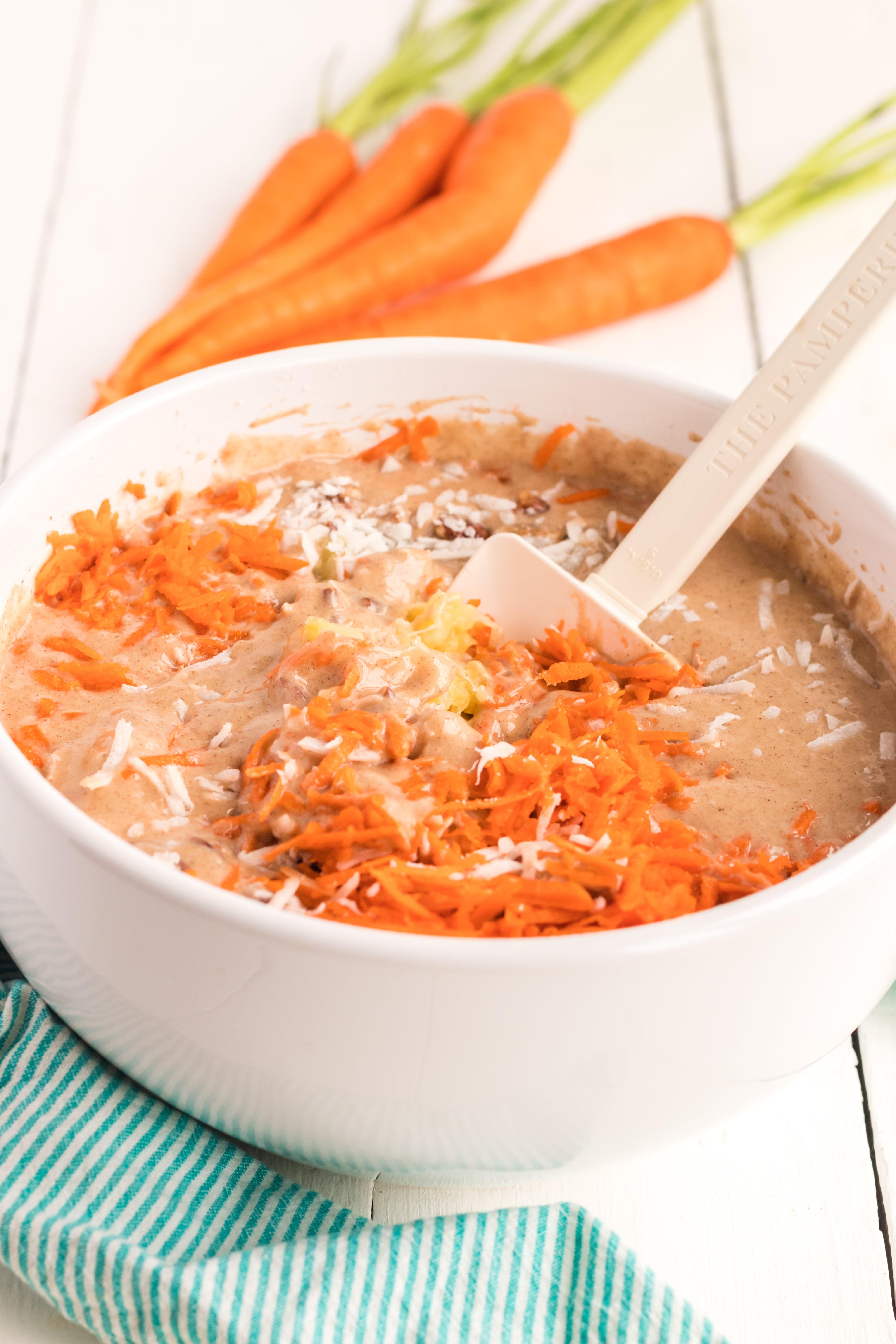 A bowl of Carrot cake batter