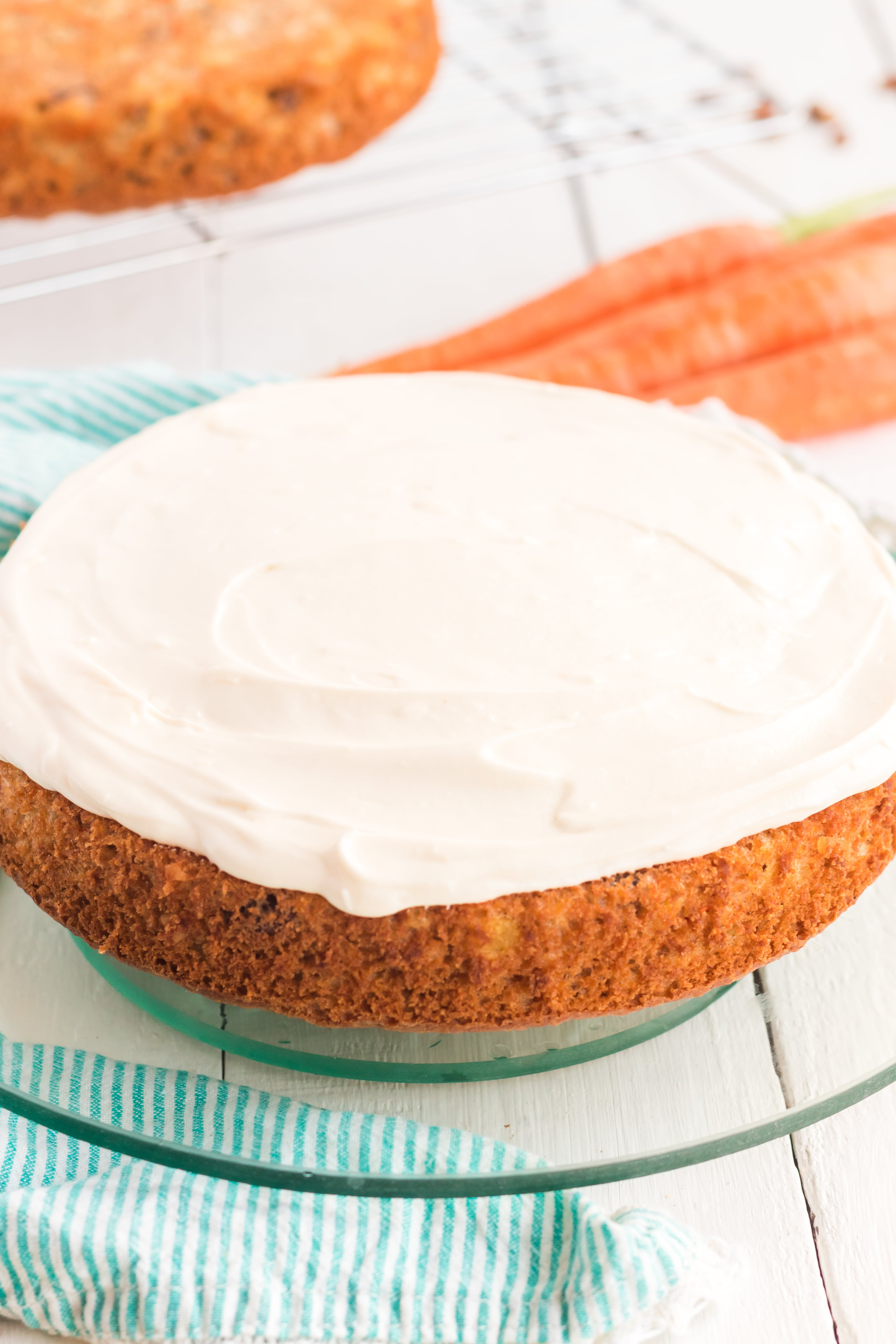 Carrot Cake and white whipped cream on top