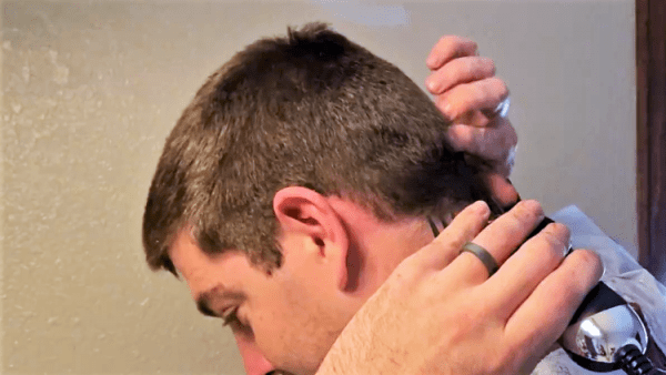 example of finding a bone point on the back of my head