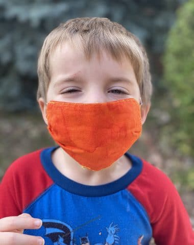 little boy with face mask