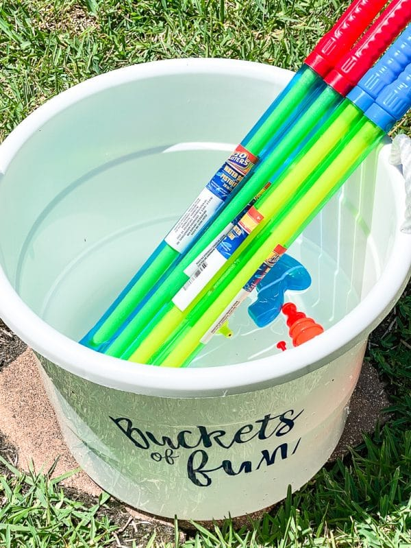 bucket with toys in it