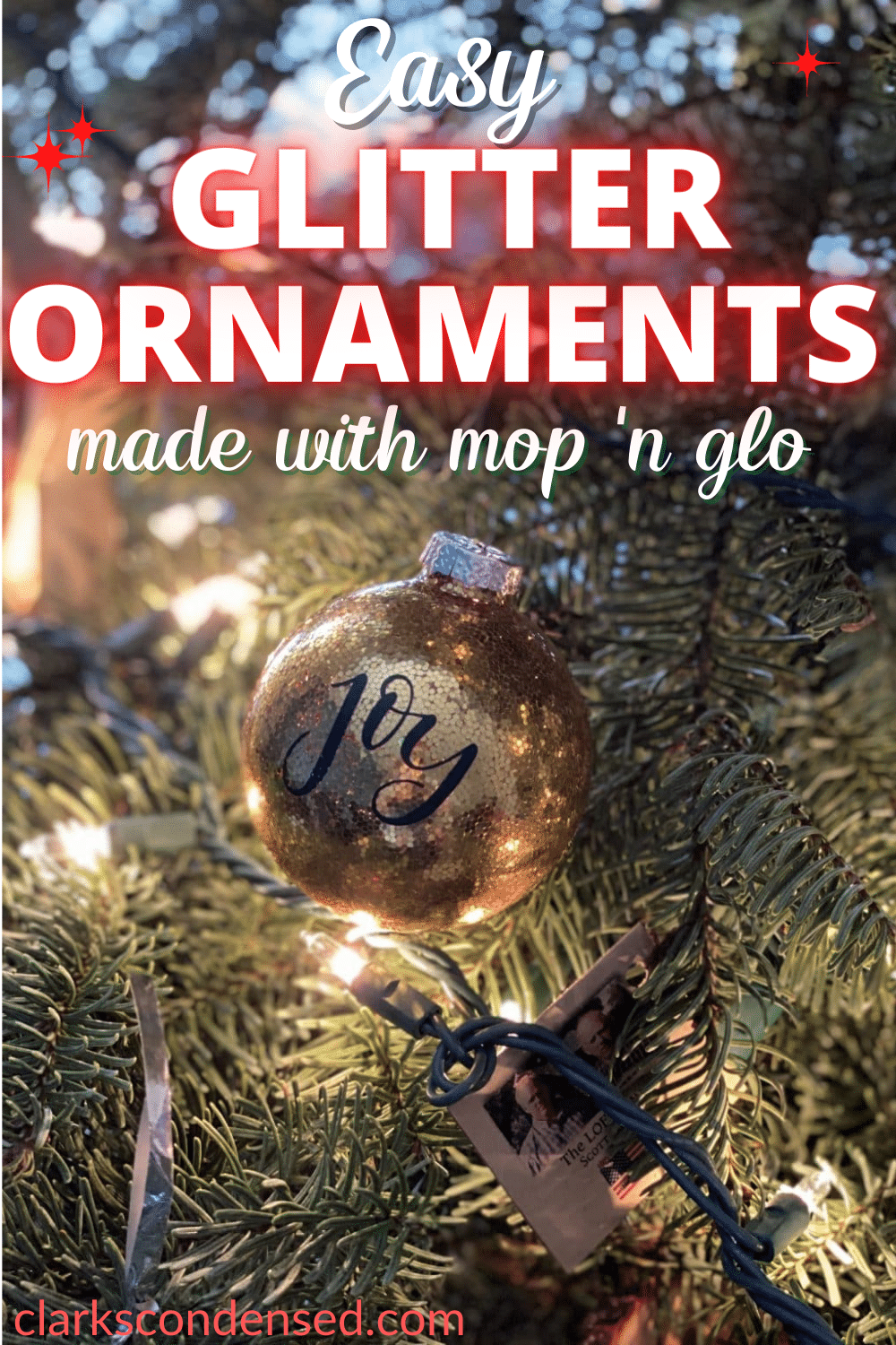 These DIY Glitter Ornaments are SO easy and fun to make. A great kid's Christmas project! Free Design Space file for different Christmas sayings via @clarkscondensed