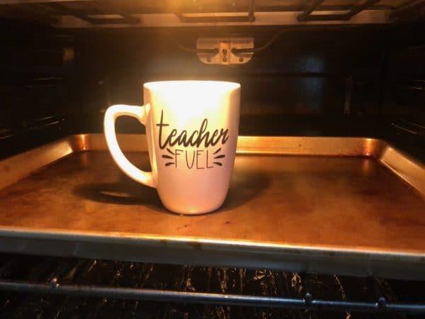 baking mug in oven