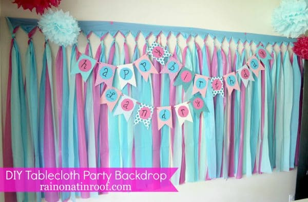 dollar tree tablecloth party backdrop