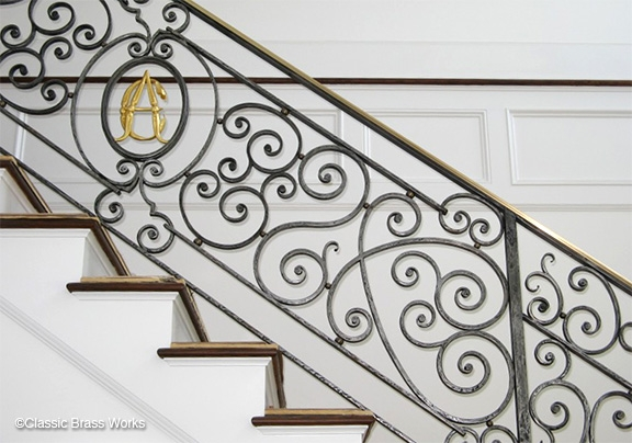 Cbw Staircase Railings | Brass Handrails For Stairs | Aluminum | Classic | Medallion | Cantilevered Spiral Stair | Wrought Iron Railing