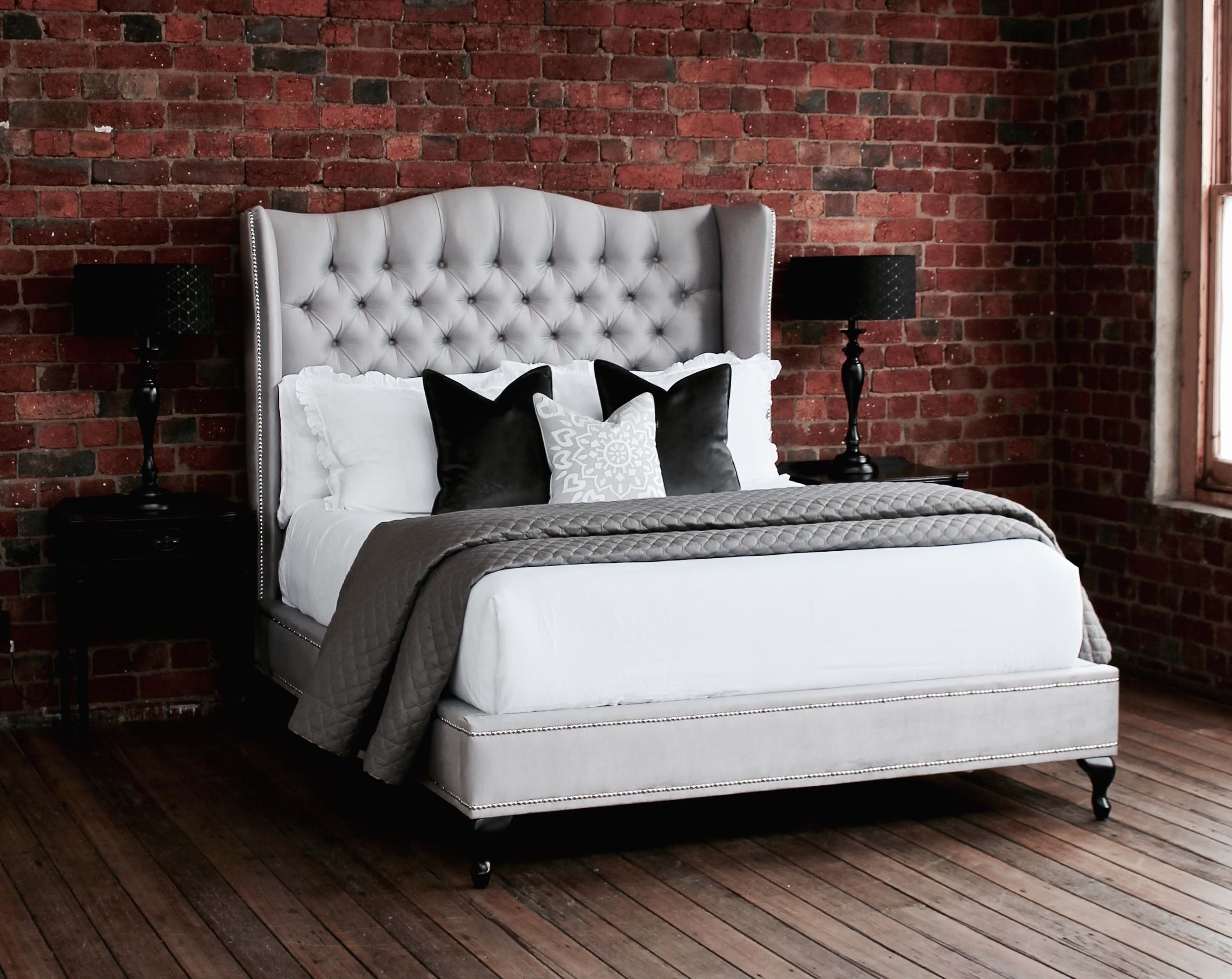 Wing Bed Head Wing Bedhead Upholstered Beds Upholstered