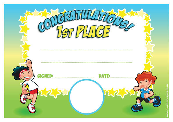 Personalised Certificates for Schools   1st Place Sports ...