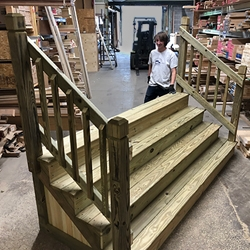 Custom Made Wood Stairs In Cleveland Ohio Cleveland Lumber Co | Stairs Made Of Wood | Pine | Staircase | Wood Plank | Hanging | Custom Made
