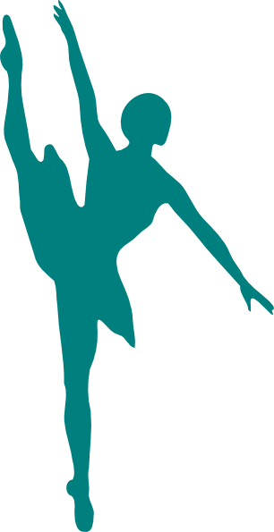 Dancer Silhouette Teal Backround