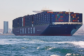 Le CMA CGM JULES VERNE  plus grand porte conteneurs au monde et     Your alternative text here