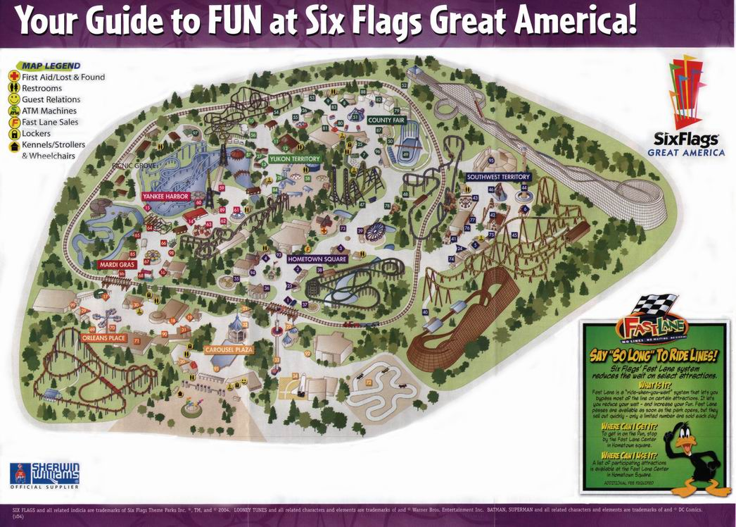 Six Flags Great America 2004 Map