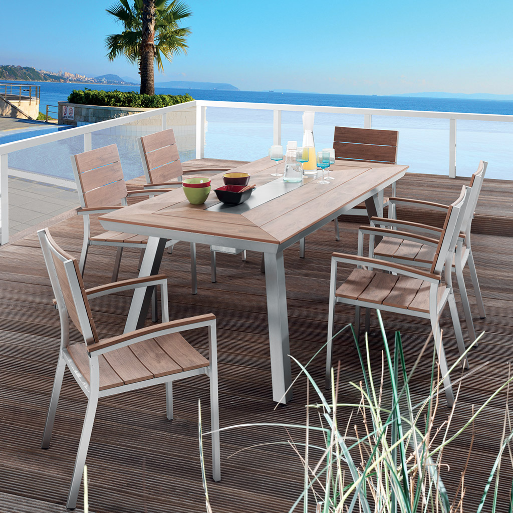 Table de jardin en aluminium bross     SWAN ultra tendance Table de jardin SWAN