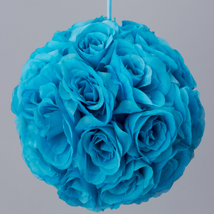 turquoise 10 inch silk flower pomander kissing balls  Silk kissing pomander flower ball TURQUOISE